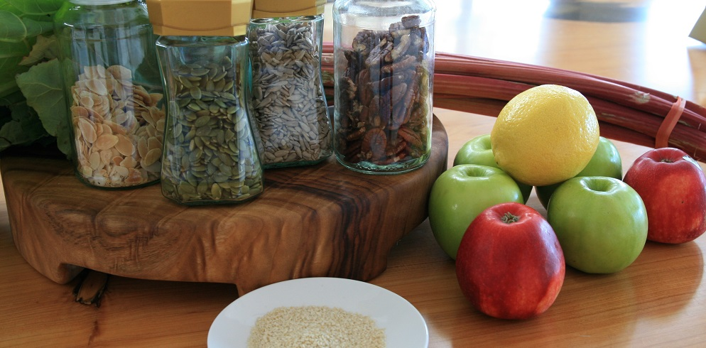 All the delicious ingredients to make a healthy apple crumble