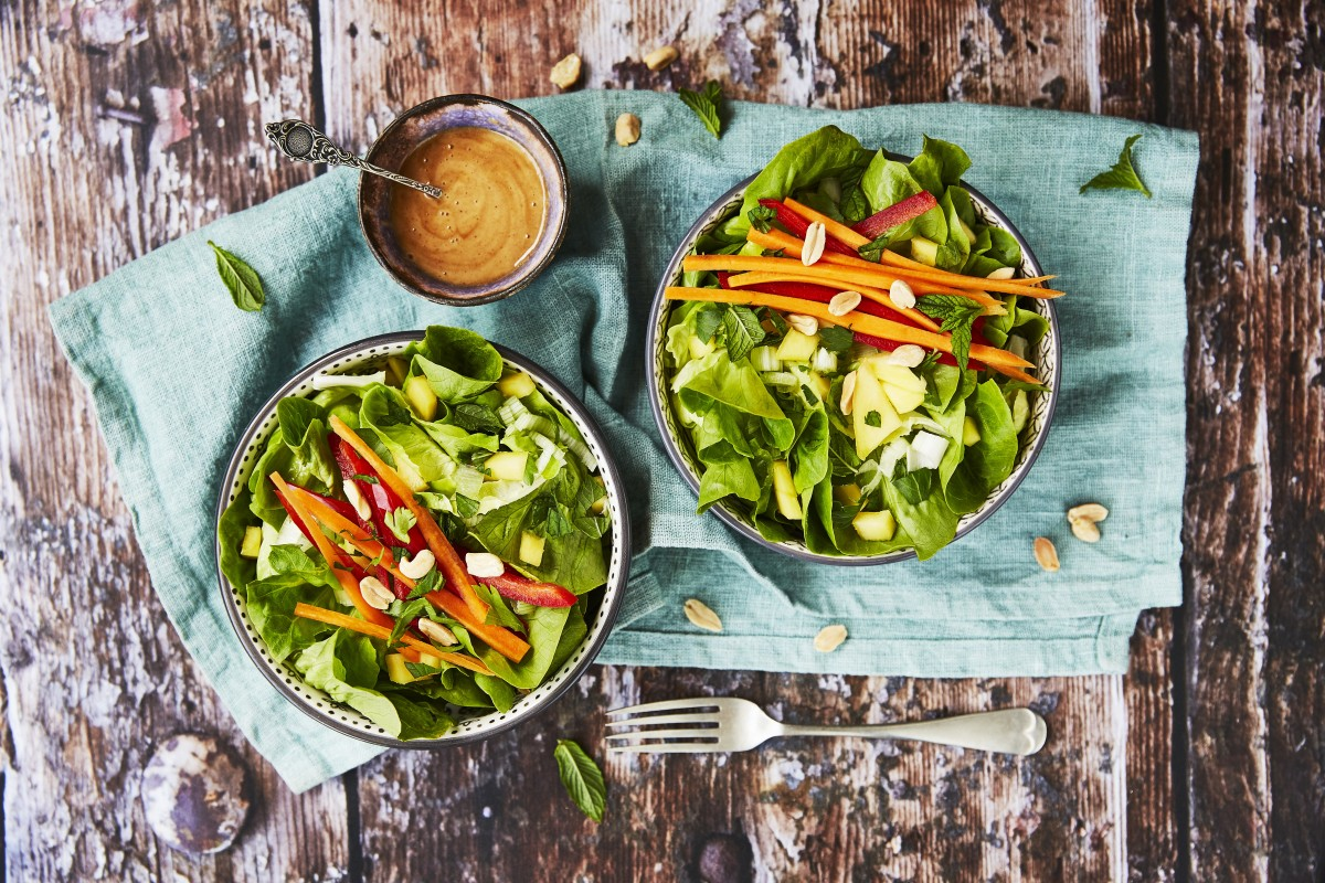 Asian style salad with carrots, mango, mint and peanut dressing