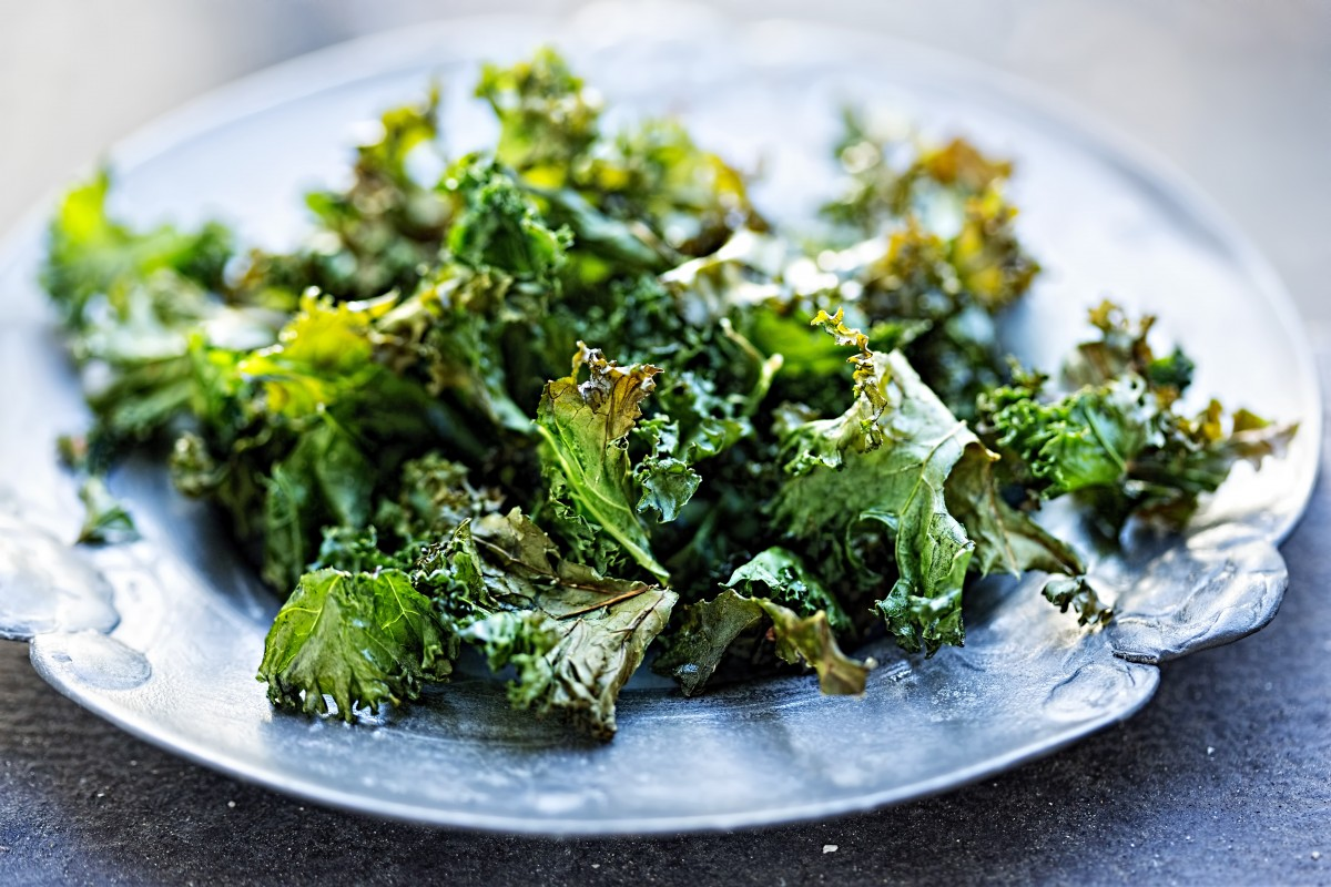 Crispy kale chips out of the oven