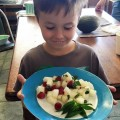 Melon, feta and raspberry salad