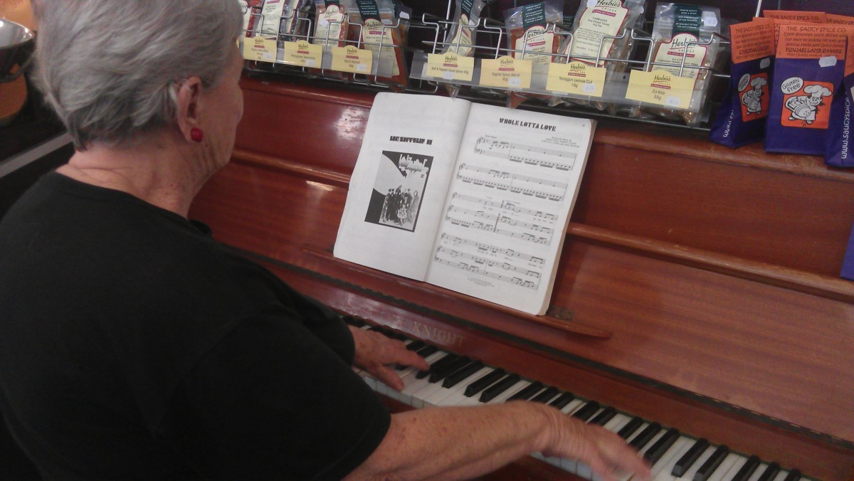 Come and play the old piano at the Fresh Ingredient