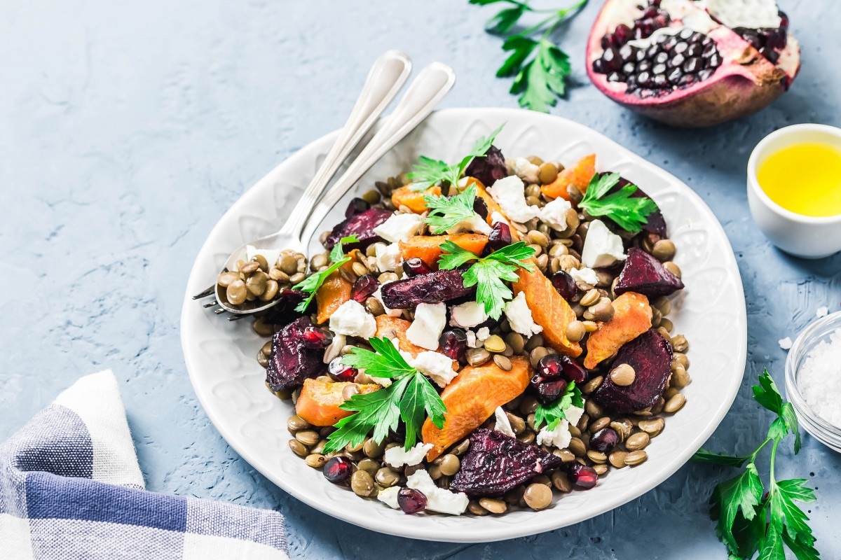Roasted beet and carrot lentil salad with feta and parsley