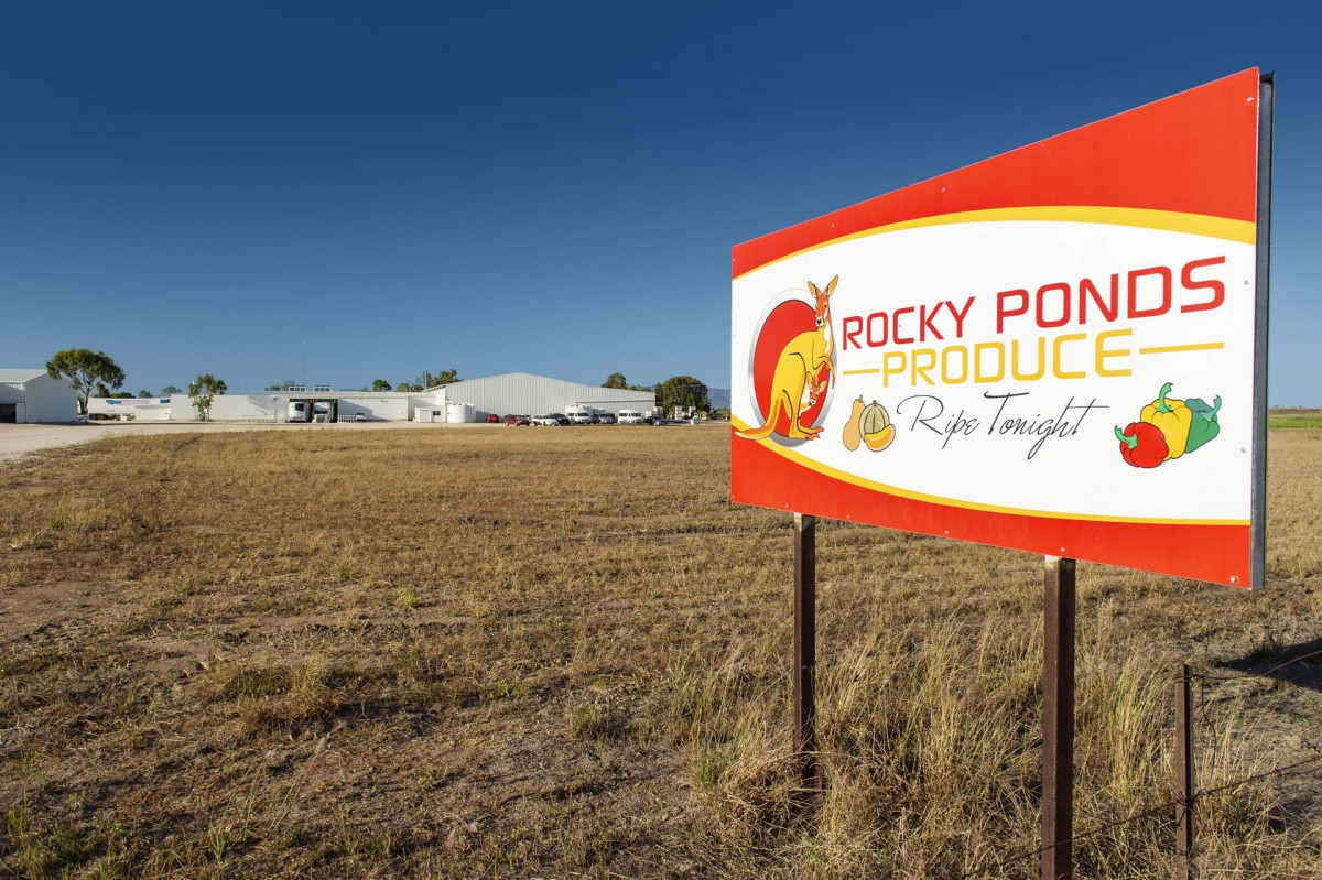 Rocky Ponds Produce Sign to Gumlu, Queensland