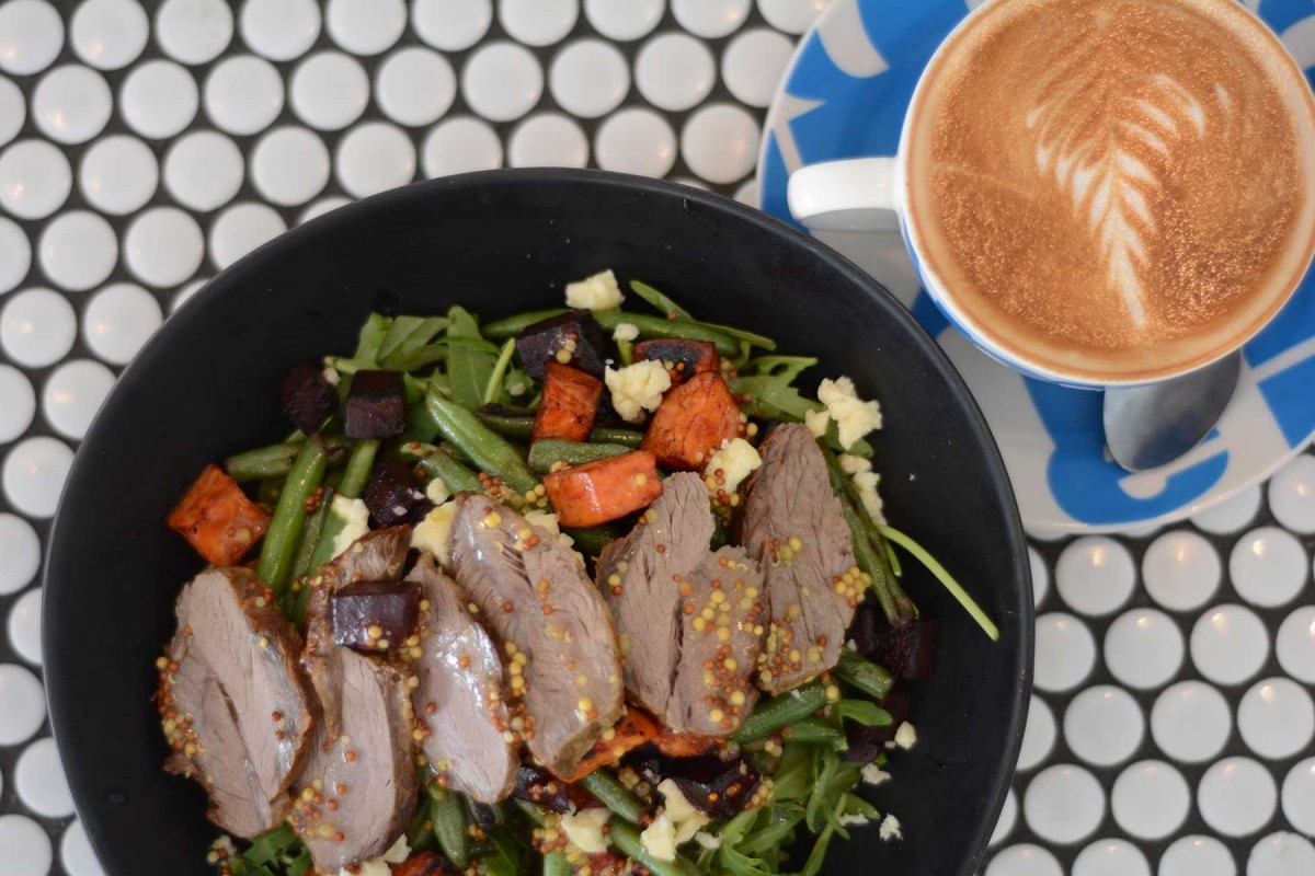 Warm sweet potato and lamb salad