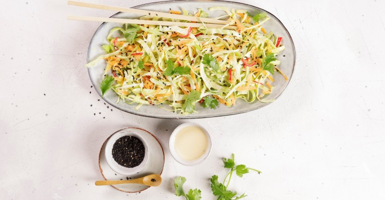 Asian Pointed Cabbage Salad With Carrots And Chili Peppers Love My Salad