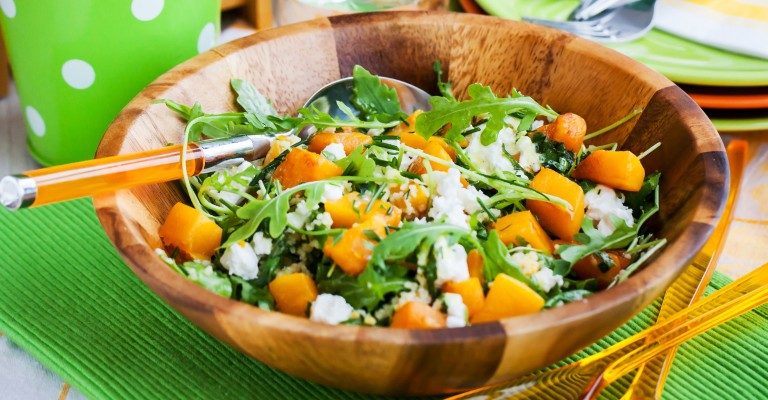 Roasted Butternut Pumpkin Feta And Spinach Salad With Honey And Pine Nut Dressing Love My Salad