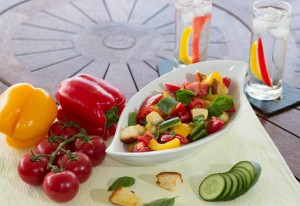 panzanella salad, colourful salad, capsicum, tomato, cucumber