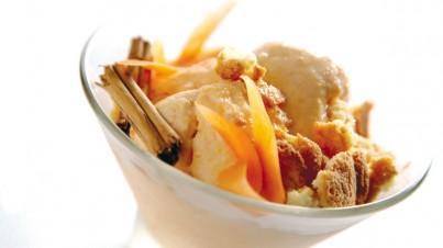 Helado Fiordilatte con zanahorias, amaretti y canela