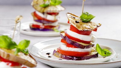 Grilled aubergine stacks with mozzarella and tomato