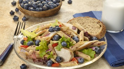 Blueberry and chicken pasta salad with field greens
