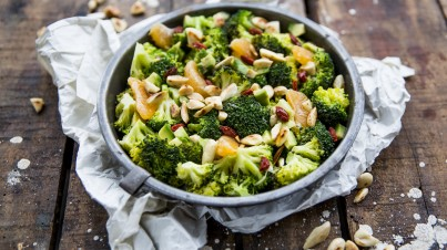 Broccoli salad with avocado and goji berries