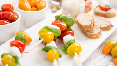 Mini Caprese salad on a stick