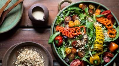 Cherry Tomato and Mini Sweet Pepper Green Salad with Tahini Sauce and Dukkah