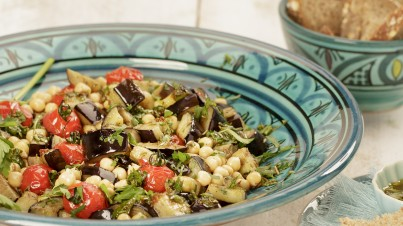Chickpea and roasted eggplant salad
