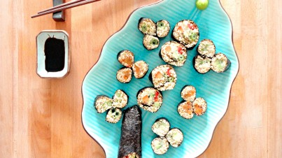 Vegetable sushi with quinoa