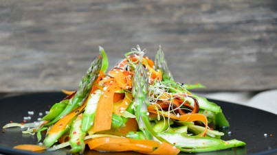 Raw carrot and asparagus salad