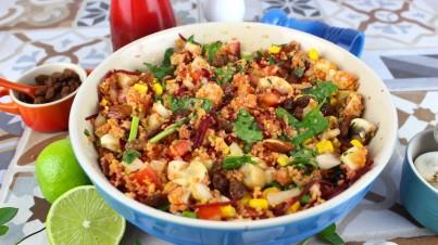 Ensalada libanesa de cous cous con verduras y frutos secos
