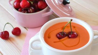 Cherry and vegetable gazpacho