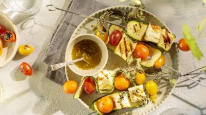 Greek skewers of courgette, tomato & feta
