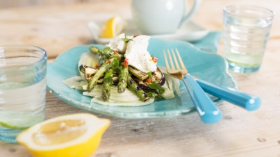 Grilled eggplant asparagus and fennel salad