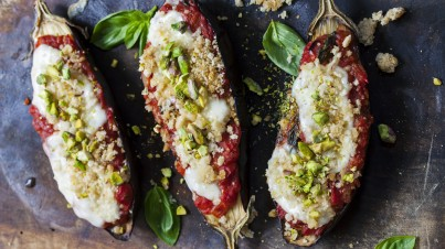 Grilled eggplant with mozzarella and pistachios