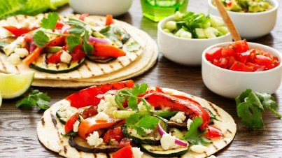 Grilled Mexican tortillas with vegetables and feta