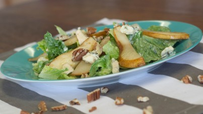 Char-grilled pear salad with a creamy blue cheese dressing