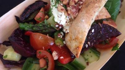 Fattoush salad with labna, walnut za'atar and buckwheat lavoush