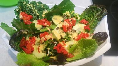 Ensalada super verde con vinagreta de cítricos