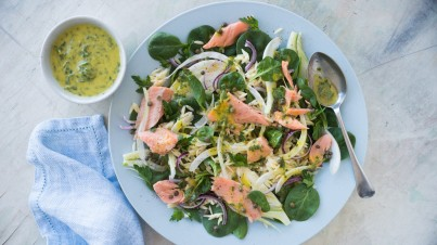 Smoked trout and fennel salad with gremolata dressing