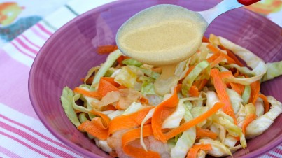 Carrot and apple coleslaw with mustard vinaigrette