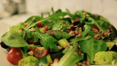 Salanova Spinach Salad with Pine Nuts and Sunflower Seeds