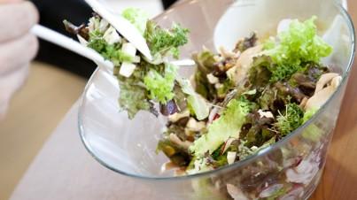 Salade met dadels, radijsjes, kalkoen en noten