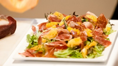 Melon salad with prosciutto and orange