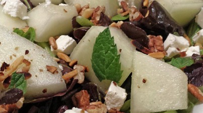 Melon salad with feta and roasted nuts