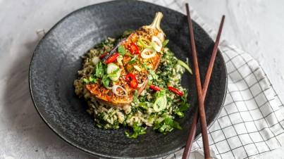 Nasu Dengaku | Gebackene Aubergine aus dem Ofen mit Spinatreis