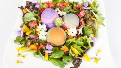 Mixed salad with easter eggs