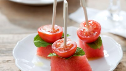 Cherry tomato and watermelon tapas (cocktails)