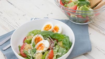 Crunchy cos and potato salad with honey vinaigrette