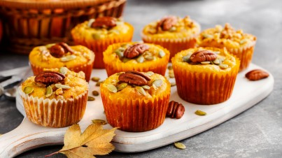Pumpkin muffins with pecan nuts