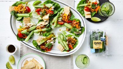 Qukes® baby cucumbers nachos lettuce cup platter