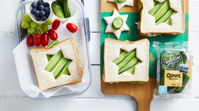 Qukes® baby cucumbers star sandwiches