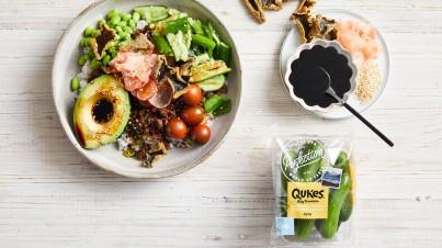 Qukes® baby cucumbers teriyaki beef bowls