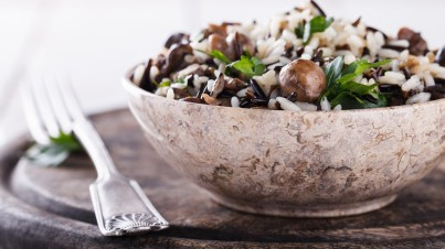Mushroom and rice salad with a lemony herb dressing