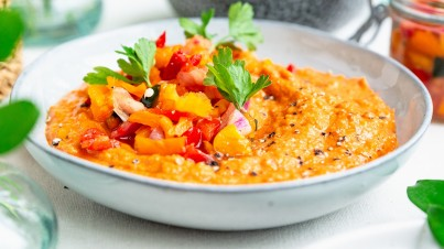 Roasted red pepper hummus with sweet pointed pepper relish