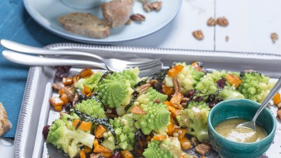Romanesco and sweet potato salad with tahini