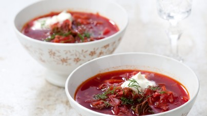 Red beetroot soup (Ukrainian borscht)