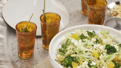 Tabouleh salade met bloemkool, broccoli en sinaasappel