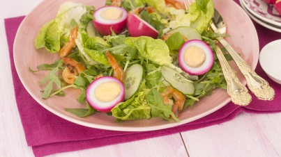 Fuchsia red beet pickled eggs