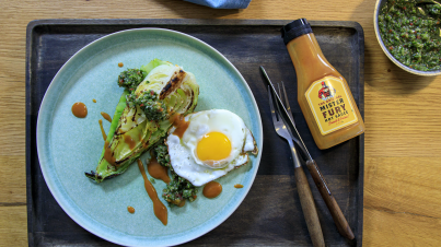 Roasted cabbage wedges with jalapeño salsa verde and fried egg